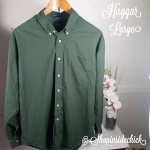 🍓$10 Haggar Q Checkered Button Down Large Green